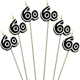 """The Party Continuous 60th Birthday Party Molded Candle on a Stick Decoration, Pack of 6, Multi , 9 1/2"""" Wax, stick"""