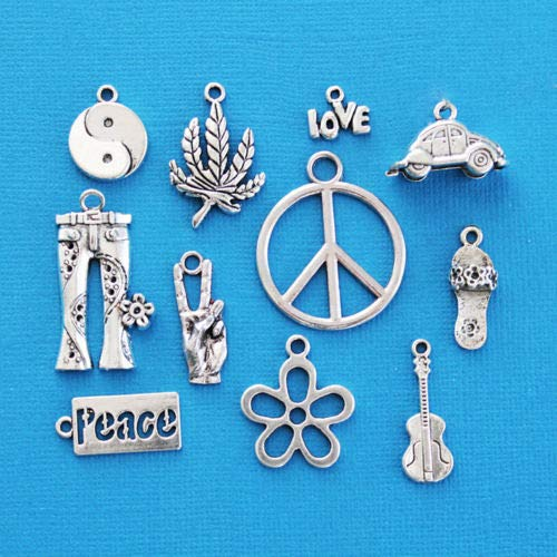 Jewelry Making Hippie Charm Collection Antique Silver Tone 11 Different Charms - COL057 Perfect for Pendants, Earrings, Zipper pulls, Bookmarks and Key Chains (Ring Pull Zinc)