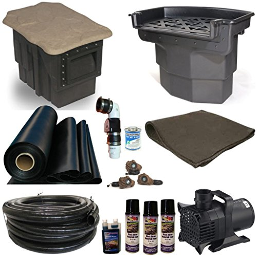 30 x 30 Extra Large Koi Pond Kit PondBuilder Skimmer and Atlantic Water Gardens Big Bahama 38 Inch Waterfall 6100 GPH Pump XLH0 by Patriot