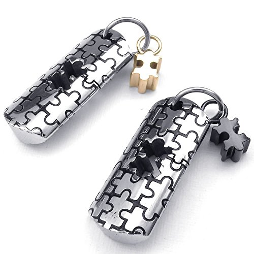 KONOV 2pcs Mens Womens Couples Stainless Steel Jigsaw Puzzle Pendant Love Necklace, 18 & 22 inch Chain