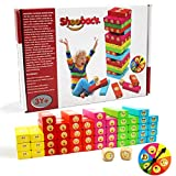 ShooBacK Tumbling Stacking Color Blocks for Kids 51 Pcs Plus Roulette and 2 Dices,Wooden Colored Toppling Stacking Board Games for Boys and Girls at Age 3 Years Old and