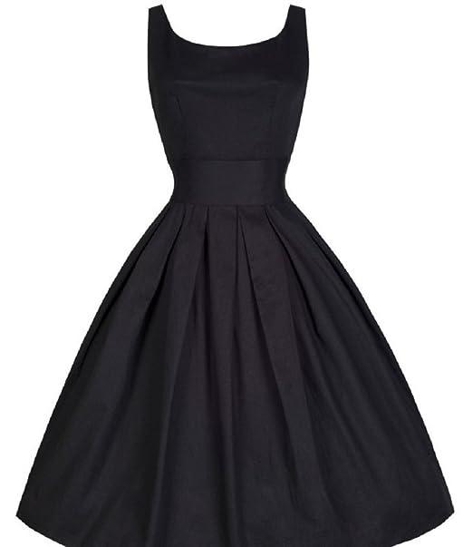 BOMOVO 50s Vestidos Vintage Retro Rockabilly Clásico sólido Audrey Hepburn