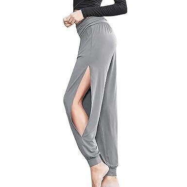 Dihope Femme Été Harem Pantalon de Loisir Taille Haute Fendue Couleur Unie  Bouffant Baggy Palazzo Sarouel 92b274a965d