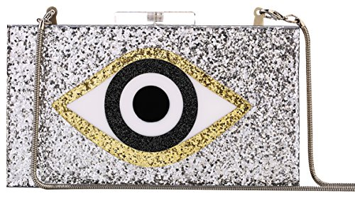 Sequin Silver Acrylic Clutch Bags Glitter Purse Perspex Bag Evening Handbags for Women (Sliver-eye) by Longcharm