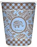 RNK Shops Gingham & Elephants Waste Basket - Single Sided (White) (Personalized)
