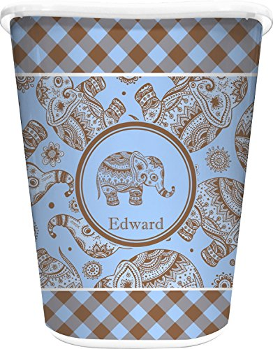 RNK Shops Gingham & Elephants Waste Basket - Single Sided (White) (Personalized) by RNK Shops