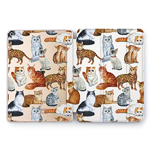 Wonder Wild Kitty Print iPad Case 9.7 Pro inch Mini 1 2 3 4 Air 2 10.5 12.9 2018 2017 Design 5th 6th Gen Clear Print Smart Hard Cover Pet Cat Animals Different Species Persian Siamese Maine Coon -