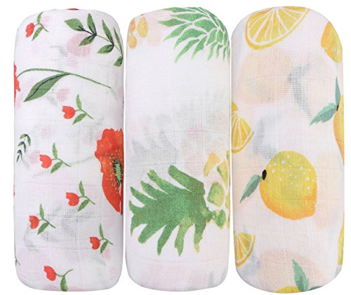 Bamboo Baby Swaddle Blankets - 3 Pack Floral & Pineapple & Lemon Print Baby Unisex Muslin Blanket for Boys and Girls by Little Jump (Floral & Painapple & - Soothing Blanket Swaddle
