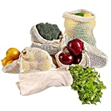 vegetable bread bin - Reusable Produce Bags KINDPMA 5 Pack Washable Organic Cotton Vegetable Fruit Bread Bags with Drawstrin Bulk Bin Bags for Grocery Shopping Bulk Food Home Storage(1 of L & S, 2 of M)