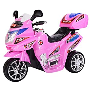 Pink Kids Ride On 3 Wheels Motorcycle 6V Battery Powered Electric Bicyle Toy