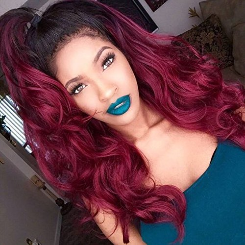 Body Wave Human Hair Lace Front Wigs Ombre Human Hair Wig #1b/red Glueless Full Lace Front Wigs with Baby Hair for Black Women by WY Wigs (Image #2)