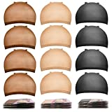Nylon Wig Caps,MORGLES 18pcs Stocking Caps For Wigs Stretchy Wig Caps Brown&Light Brown&Black Wig Caps For Women