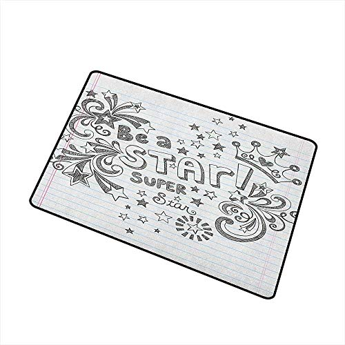 Wang Hai Chuan Teen Room Front Door mat Carpet Be A Super Star Phrase on a Notebook Paper Backdrop with Stars and Crown Print Machine Washable Door mat W29.5 x L39.4 Inch Grey White]()