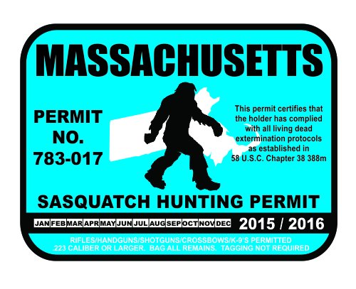 Massachusetts Sasquatch Hunting Permit License Bigfoot Vinyl Sticker Decal