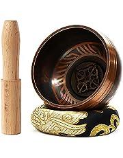 Juego de cuencos tibetanos de 7,8 cm – con mazo y cojín de seda – Cuenco de meditación perfecta para yoga y curación de chakras hecho a mano. Regalo perfecto