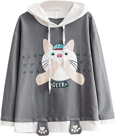 Fashion Hoodie,SFE Women Casual Cat Printed Long Sleeve Cat Ear Hooded Sweatshirt Pocket Top Blouse