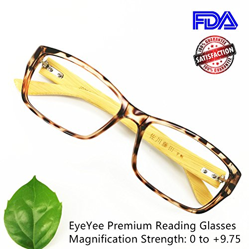 Reading Glasses 8.0 Bamboo Comfortable Fit Reader for Women Men High Magnification Light Tortoise Anti Glare Anti Eye - Home Glasses At On Try