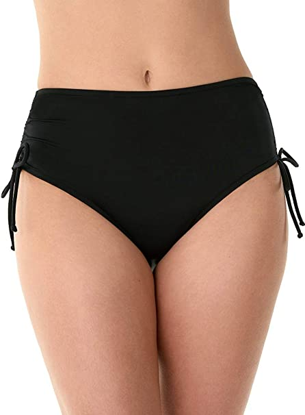 Caribbean Joe Swimwear Tummy Control Adjustable Side Tie Brief Swim Suit Bottom