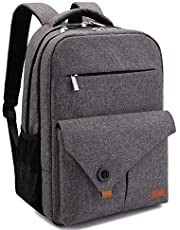 Lekesky Laptop Backpack 15.6 Inch Travel Backpack Computer Back Pack with USB Charging Port for Work/School/Women/Men, Grey
