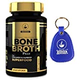 Bone Broth Protein Powder Superfood Capsules with Keychain - Organic Grassfed Beef + Chicken Powder Blend Pills - Non-GMO - Great Source of Collagen (180 Capsules Total)