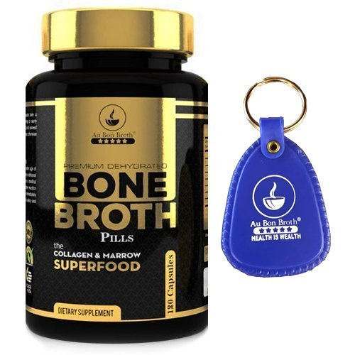 Bone Broth Protein Powder Superfood Capsules with Keychain - Organic Grassfed Beef + Chicken Powder Blend Pills - Non-GMO - Collagen (180 Capsules Total)