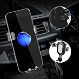 Air Vent Car Mount, Universal Car Phone Holder Phone Mount Cradle Compatible with iPhone X 8 7, 7 plus, 6S, 6S Plus,Samsung S8, S7,S6 Edge and Other Smartphones (Silver)