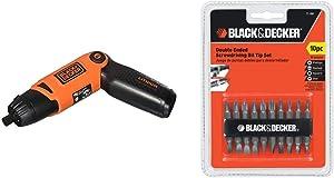 BLACK+DECKER Cordless Screwdriver with Pivoting Handle, 3.6V (Li2000) & Screwdriver Bit Set, Double Ended, 10-Piece