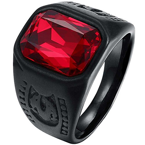 Gothic Mens Rings - LWLH Mens Vintage Square Ruby CZ Crystal Stone Titanium Steel Ring Band Gothic Biker Knight Red Black Szie 10