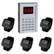 SINGCALL Wireless Calling System.Kitchen Paging Waiter System,Chef Can Press a Button to Buzzer a Waiter to Pick up the Already Dishes,Pack of 5 pcs Watchs.