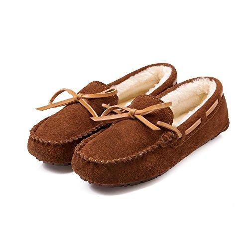 Meeshine Damen Leder Loafer Schuhe Slip On Bowknot Mokassins Driving Casual Wohnungen Pelzfutter Braun