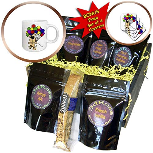 3dRose All Smiles Art - Pets - Funny Cute Hound Dog holding Colorful Balloons - Coffee Gift Basket (cgb_311664_1)