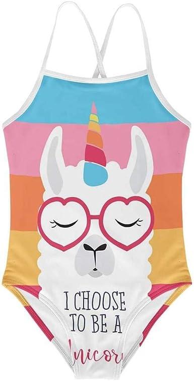 KiuLoam Unicorn Rainbow Cloud Girls Swimwear One Piece Swimsuits Bathing Suit for 3-8 Years Baby Girl