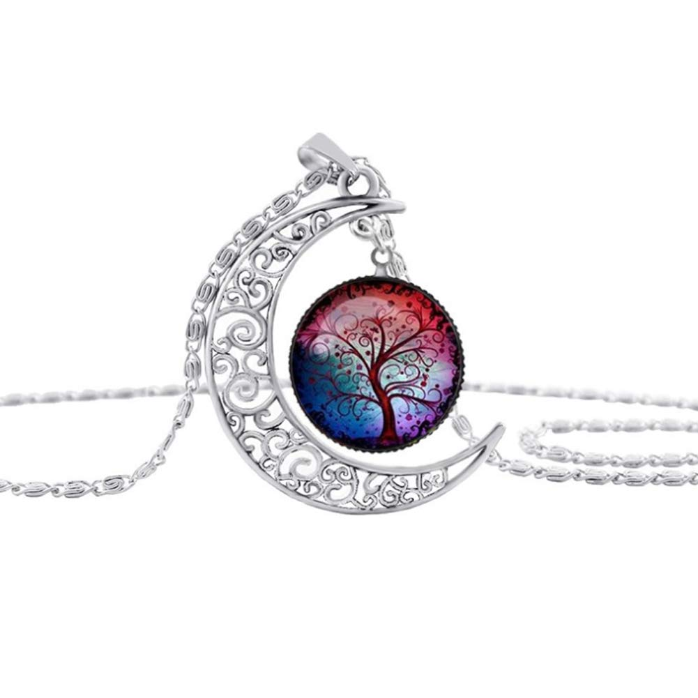 Hemore Tree Jewelry Moon Jewelry Time Gemstone Life Tree Moon Necklace Pendant Falling Moon Pendant Necklace 1pc