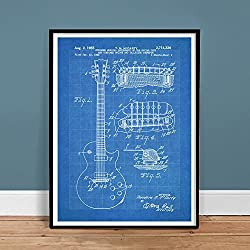 GIBSON LES PAUL GUITAR POSTER Blueprint US Patent Poster Print 18X24 Vintage Reproduction Gift 1955 Unframed