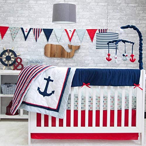 6 Piece White Red Blue Boys Baby Anchors Crib Bedding Set, Nautical Newborn Sailor Sea Themed Nursery Bed Set Infant Child Fishing Navy Pattern Blanket Quilt Rugby Stripes, Polyester Cotton ()