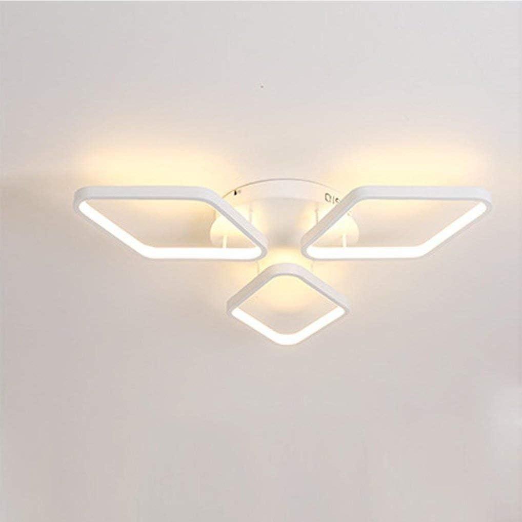 L.J.JZDY Araña La Elegancia Moderna 40W LED de diseño lámpara de Techo de Aluminio de 3 Diamantes de acrílico del Techo de la lámpara Ø51CM Blanco cálido 3000K Colgante Ligera