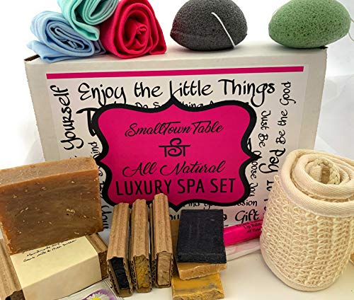 - Spa Kit Relaxation Gift Set - All Natural Handmade Soaps, Konjac Sponges, Lip Balm, Tea, Headbands, Upscale Bath and Body Spa Package Organic