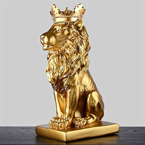DAJIADS Figurine Figurines Statue Statues Statuette Sculptures Buddha Creative Modern Gold Crown Black Lion Statue Aanimal Figurine Sculpture for Home Decorations Attic Ornaments Gifts 2