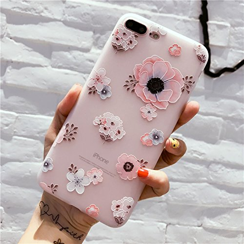 (Girls Cute Clear Protective Soft Phone Case/Protective Bumper/Cover Compatible with Apple iPhone 7 Plus and 8 Plus - Color Wildflowers Blue)