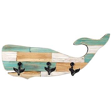 Amazon.com: De madera perchero ballena 23.6 x 11.8 inch ...