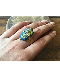 FootSoles24 Blue Druzy Ring with Gold Hammered Band, Cocktail Ring, Stacking Ring, Gemstone Ring