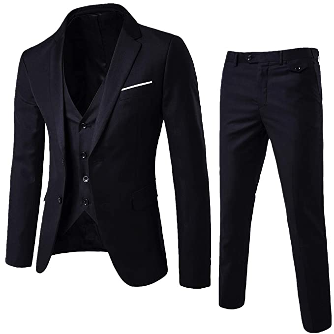 variety of designs and colors Super discount search for original YIMANIE Men's Suit Slim Fit One/Two Button 3 Piece Suits Jacket Vest &  Trousers