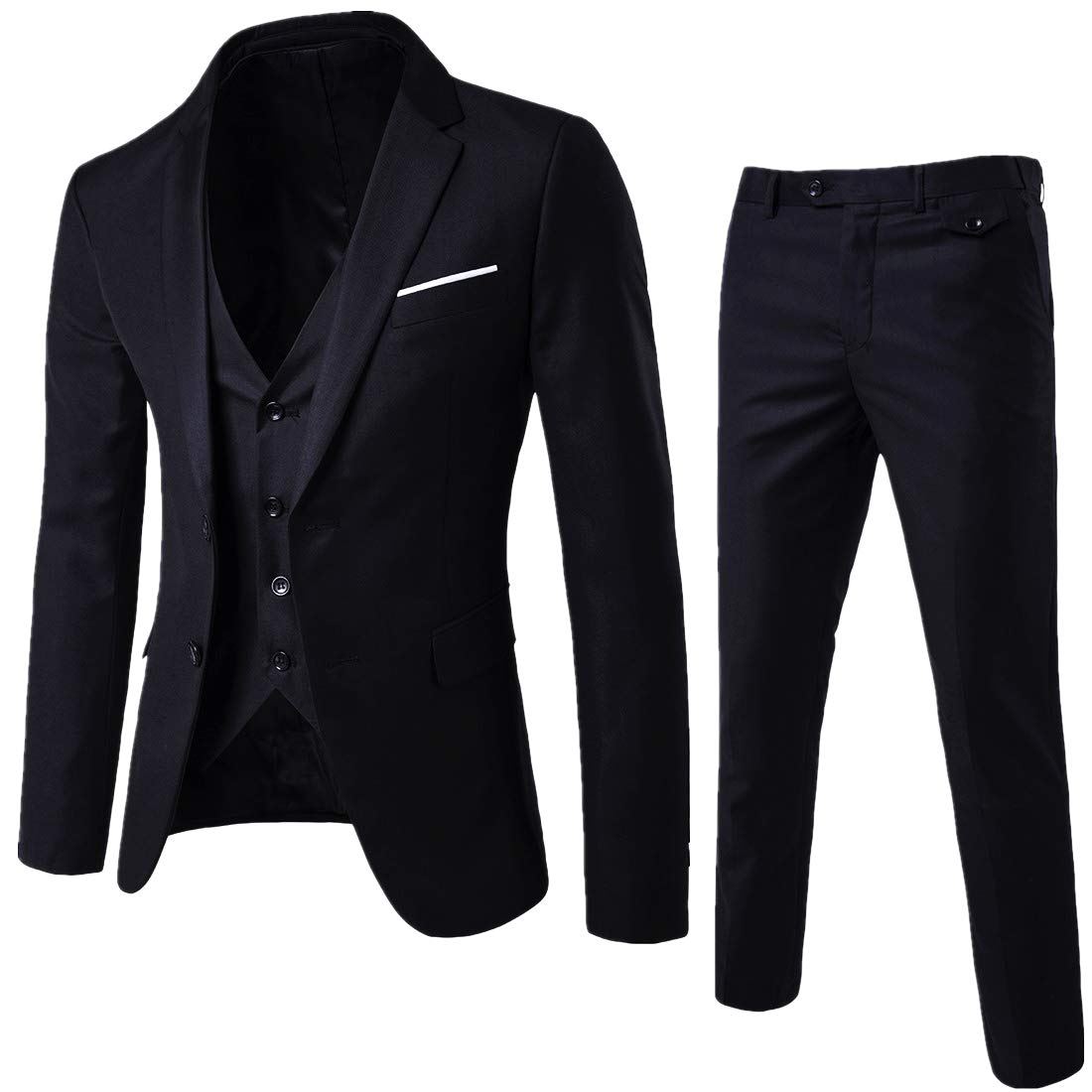 YIMANIE Mens Suit 3 Piece Single Breasted Jacket Two Button Slim Fit Blazer Tux Vest&Trousers, Black, Medium