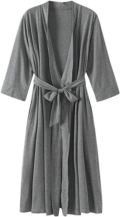 Pijama Kimono Mujer Bata Corto Ropa de Dormir Algodón Verano Batas y Kimonos Sexy y Elegante, Bata de Albornoz de Manga 7: Amazon.es: Ropa y accesorios