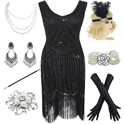 1920s Gatsby Fringed Paisley Plus Size Flapper Dress with 20s Accessories Set (XXXL, Black-Black) -