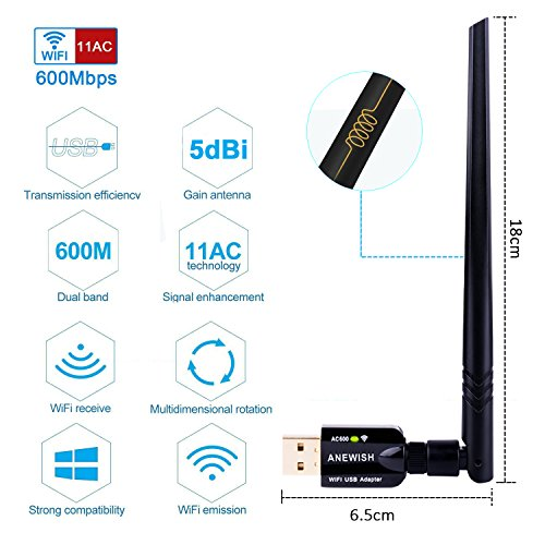 ANEWISH WiFi Adapter ac600Mbps Wireless USB Adapter 5GHz/2.4GHz Dual Band Network LAN Card with 5dBi External Antenna Compatible PC/Desktop/Laptop/Tablet, Windows 10/8.1/8/7/XP, Mac OS 10.9-10.13.6 by A-NEWISH (Image #4)