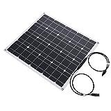 Yosoo- 12V 50W Semi-Flexible Etfe Chip Solar Panel, Portable Waterproof Monocrystalline Solar Panel Frameless DesignCharger Solar Cell