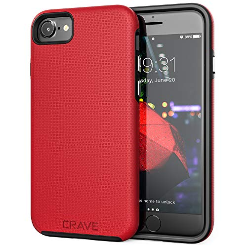 iPhone 8 Case, iPhone 7 Case, Crave Dual Guard Protection Series Case for Apple iPhone 8/7 (4.7 Inch) - Red