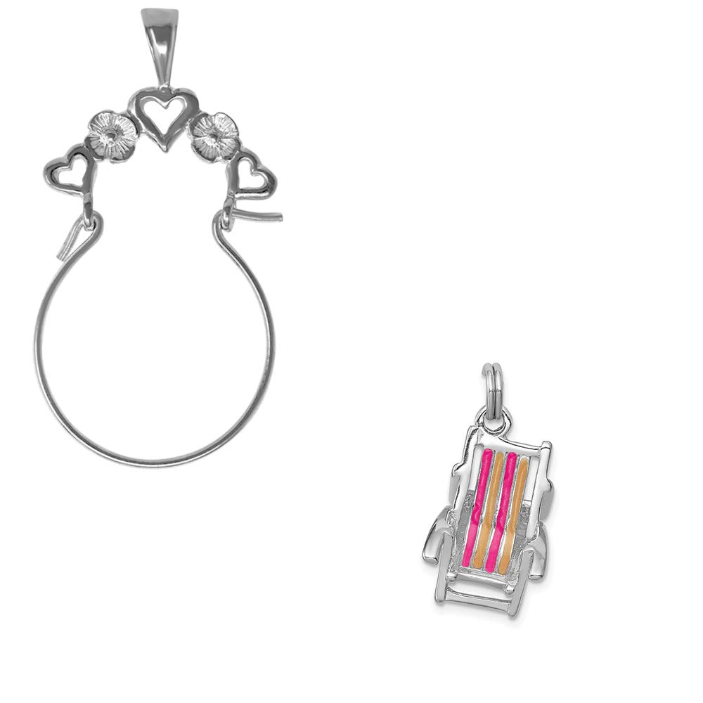 Mireval Sterling Silver Anti-Tarnish Treated Enamel Beach Chair Charm on an Optional Charm Holder