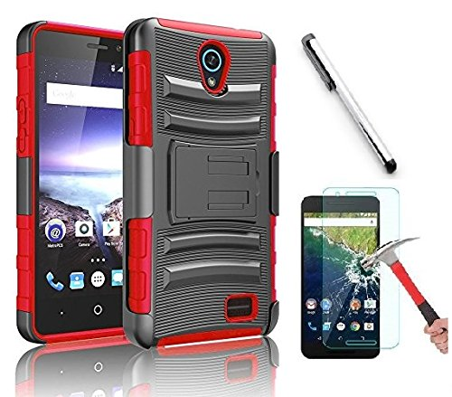 Clip Blue Belt Faceplate (Alcatel IdealXcite Case, Alcatel Verso Case, Alcatel CameoX Case, Alcatel Raven LTE Case, Luckiefind Dual Layer Hybrid Side Kickstand Cover Case Holster Clip Acce. (Holster Red))